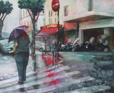 Stell Dir vor Du fährst nach Paris und es regnet (2015, Acryl/Leinwand, 110x90 cm)