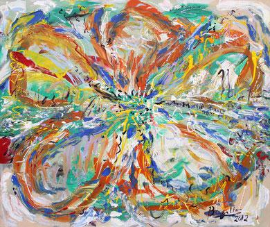 Fleur N° 24, acrylique sur toile, 100 x 120 cm, 2012
