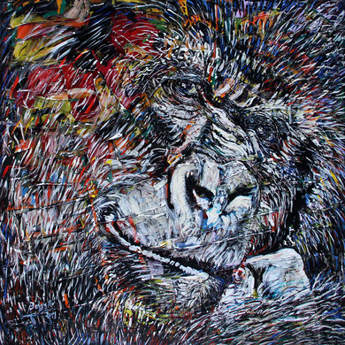 Le Gorille, acrylique sur toile, 100 x 100 cm, 2014