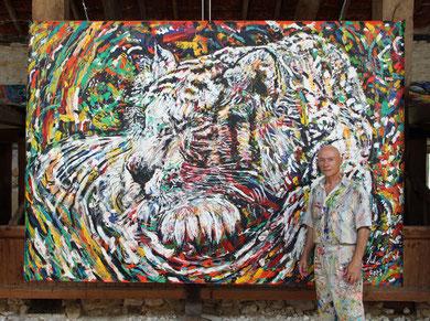 Le Repos du Tigre, acrylique sur toile, 310 cm x 215 cm, 2013