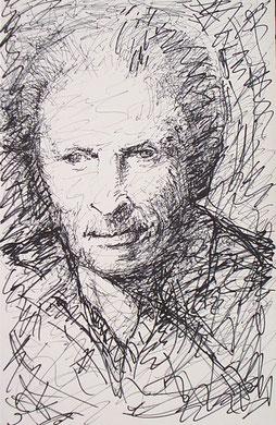 Levinas, encre sur carton, 25 x 40 cm, 2006