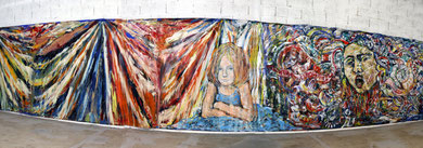 "« Alice's Room »  Installation, ""Alice et la Medusa"",  fresque, 10m x 2m20 - photo: Jean-Louis Borderie"
