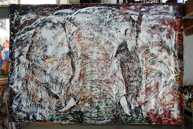 L'Éléphant , acrylique sur toile, 310 x 210 cm, 2013
