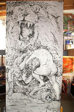 Hercule et le Lion de Némée, acrylique sur papier, 400 x 200 cm, 2011