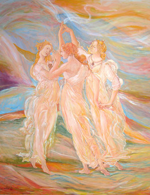 Les Trois Graces, acrylique sur toile, 115 X 90 cm, 2008.