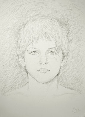 Adolescent, encre et crayon sur toile, 60 x 80 cm, 2006