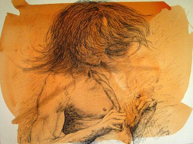 Le Danseur, encre, crayon et acrylique sur toile, 120 x 100 cm, 2007