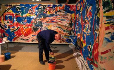 Préparation fresque « Salomé »  acrylique sur toile, 10m x 2m15, Atelier Lalandusse, 2008  - photo: Frederik van Kleij
