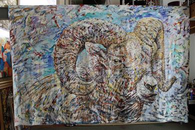 Le Mouflon, acrylique sur toile, 320 x 210 cm, 2013