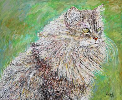 Le Chat-II, acrylique sur toile, 120 x 100 cm, 2016