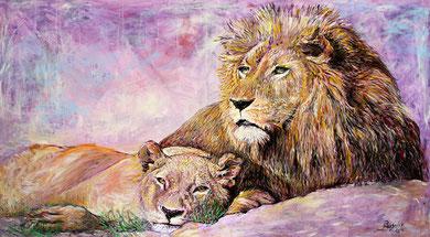 Lions, acrylique sur toile, 160 x 90 cm, 2014