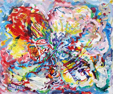 Fleur  N° 18, acrylique sur toile, 60 x 50 cm, 2011