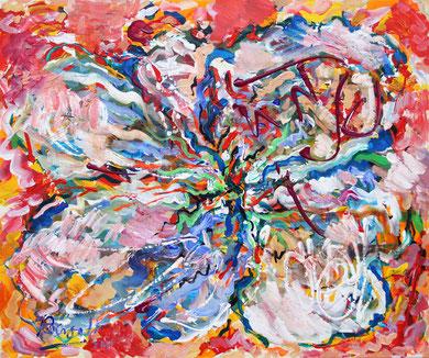 Fleur  N° 16, acrylique sur toile, 60 x 50 cm, 2011
