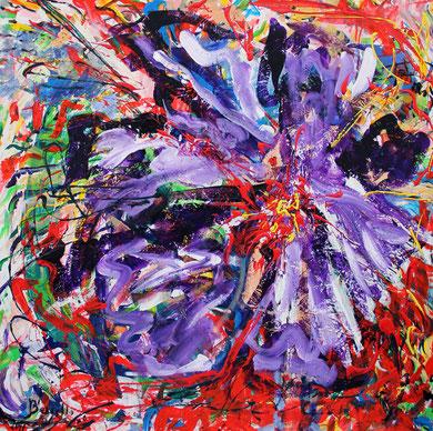 Fleur  N° 4, acrylique sur toile, 100 x 100 cm, 2011