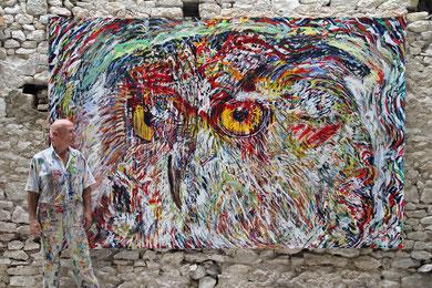 L'Hibou, acrylique sur toile, 330 x 213 cm, 2013