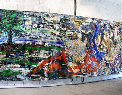 """« Alice's Room »  Installation, """"L'Homme dans la Tempête"""", fresque (partie droite) - photo: Jean-Louis Borderie"""