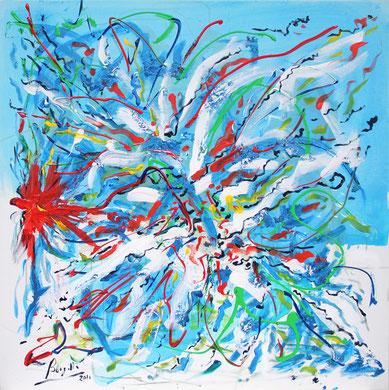 Fleur  N° 14, acrylique sur toile, 100 x 100 cm, 2011