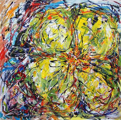 Fleur  N° 3, acrylique sur toile, 100 x 100 cm, 2011