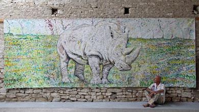 Rinoceronte, acrylique sur toile, 6 x 2.15 m, 2017