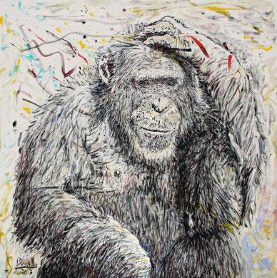 Le Chimpanzé, acrylique sur toile, 100 x 100 cm, 2013