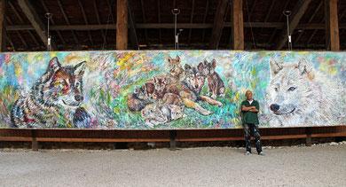 Loups, acrylique sur toile, 10m x 2m15, 2014