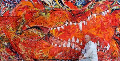 Le Crocodile, acrylique sur toile, 420 x 216 cm, 2014
