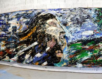 """« Alice's Room »  Installation, """"L'Homme dans la Tempête"""", fresque (partie gauche) - photo: Jean-Louis Borderie"""