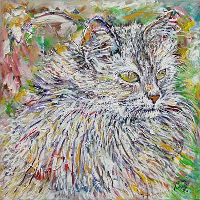 Le Chat-I, acrylique sur toile, 100 x 100 cm, 2016