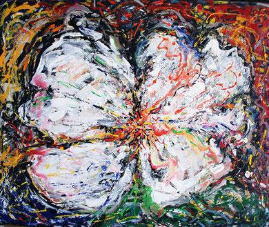 Fleur  N° 5, acrylique sur bois, 120 x 100 cm, 2011