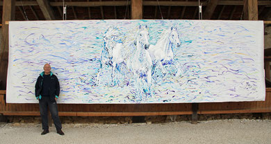 Les Chevaux blancs, acrylique sur toile, 6m60 x 2m14, 2015