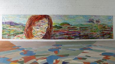 Salomé et l'Infini, acrylique sur toile, 10m x 2m15, 2016