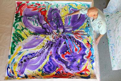 Fleur, acrylique sur papier, 210 x 210 cm, 2012
