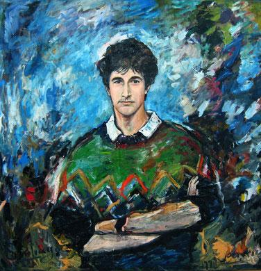 Portrait Santiago del Corral, huile et acrylique sur toile, 100 x 100 cm, 1995