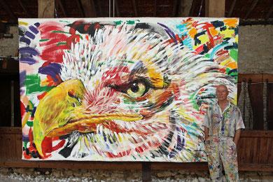 L'Aigle, acrylique sur toile, 335 x 215 cm, 2014