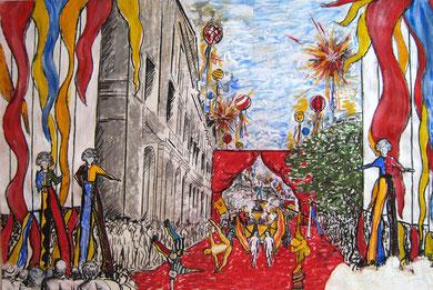 « L'Ascension de Bacchus » Etude Opéra Urbain, Commissionné par la Direction de l'Action Culturelle de la Ville de Bordeaux, 1997.