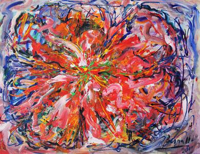 Fleur  N° 1, acrylique sur toile, 116 x 90 cm, 2011