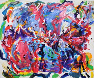 Fleur  N° 17, acrylique sur toile, 60 x 50 cm, 2011