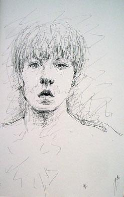 Young boy, encre sur carton, 25 x 40 cm, 2006