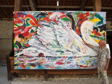 Le Cygne, acrylique sur toile, 355 x 215 cm, 2014
