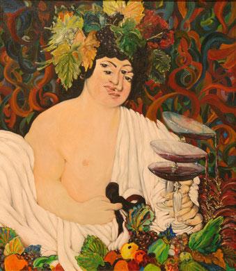 Bacchus, huile sur toile, 70 x 80 cm, 1980.