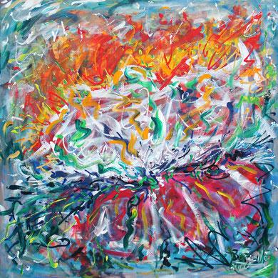 Fleur  N° 6, acrylique sur toile, 100 x 100 cm, 2011