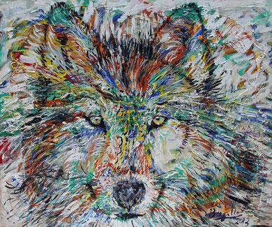 Le Loup, acrylique sur toile, 120 x 100 cm, 2013