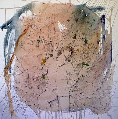 Remanso, encre, crayon et acrylique sur toile, 100 x 100 cm, 2006