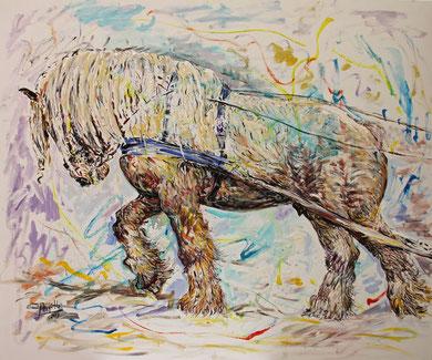 Le Cheval de trait, acrylique sur toile, 120 x 100 cm, 2013