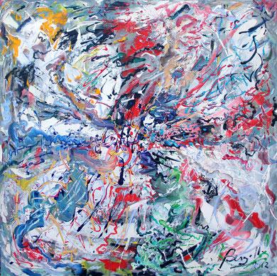 Fleur N° 22, acrylique sur toile, 100 x 100 cm, 2012