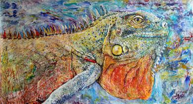 Iguana, acrylique sur toile, 4 x 2.15 m, 2017