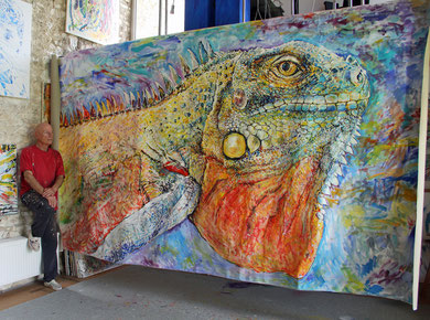 Iguana, acrylique sur toile, 400 x 215 cm, 2017