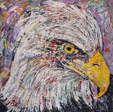 L'Aigle, acrylique sur toile, 100 x 100 cm, 2013