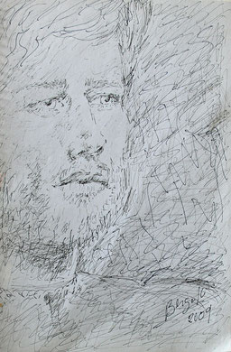 Gulliver - portrait, encre sur papier, 33 x 23 cm, 2009