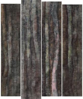 HAMBACH, quadriptyque, papier et encre, 180 x 218 cm, 2014